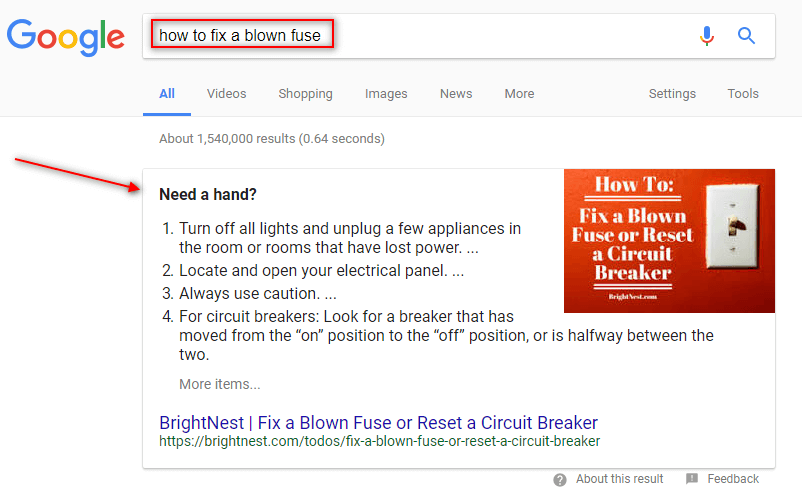 featured snippet answerbox positionzero on google for how to fix a blown fuse