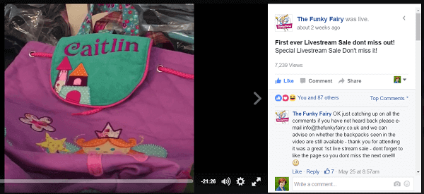 the funky fairy host a Promotion Offer with Facebook live