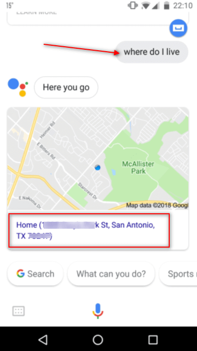google assistant showing address