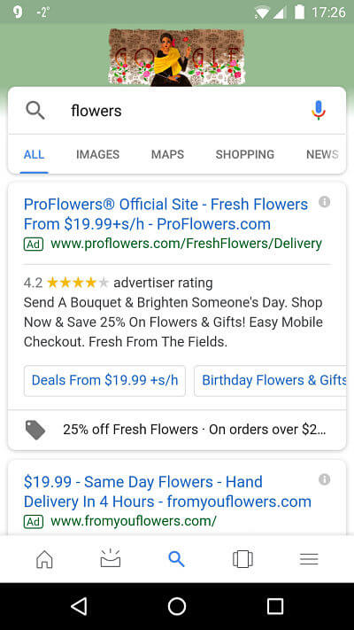 google mobile search for keyword flowers