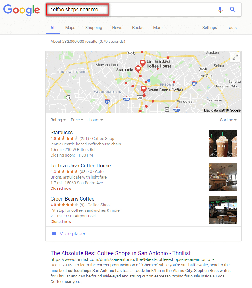 google results for voice search coffee shops near me