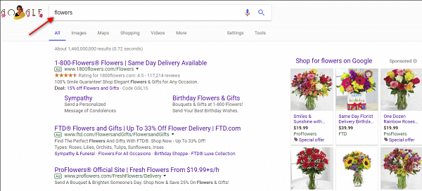 google desktop search for keyword flowers