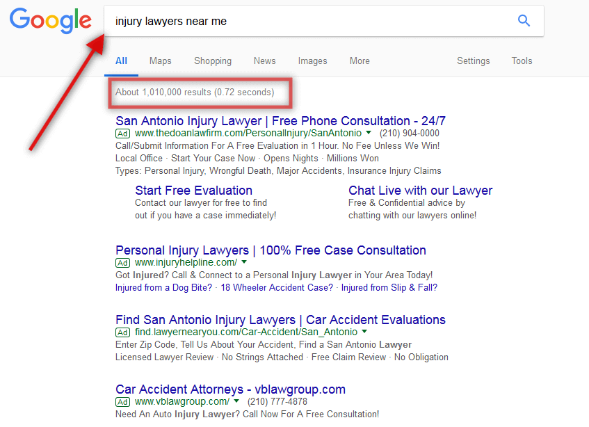 google search injury lawyers near me