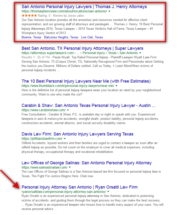 organic results google search injury lawyers near me