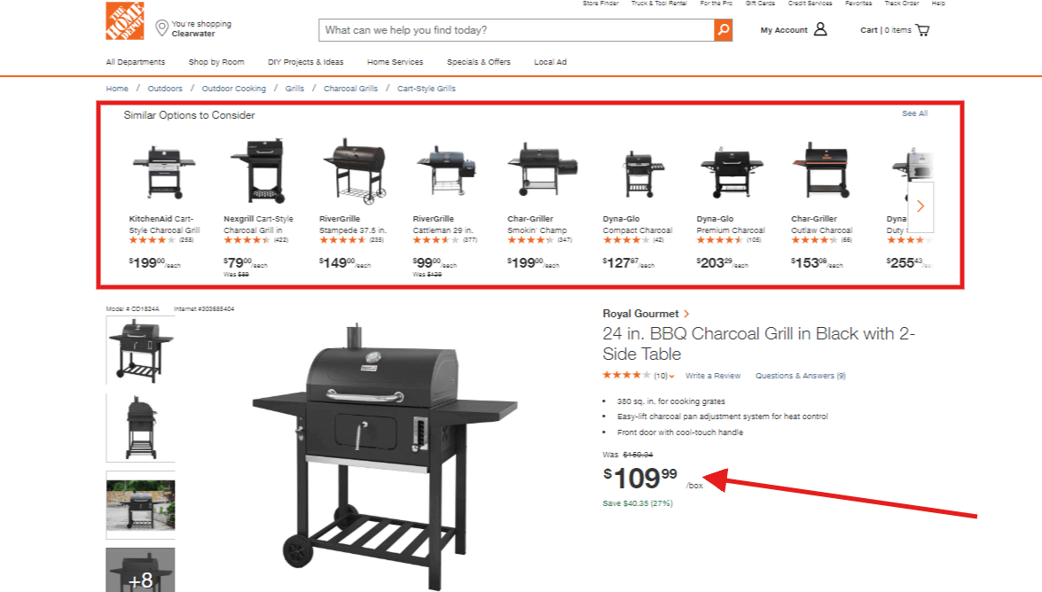 charcoal grill paid result home depot landing page
