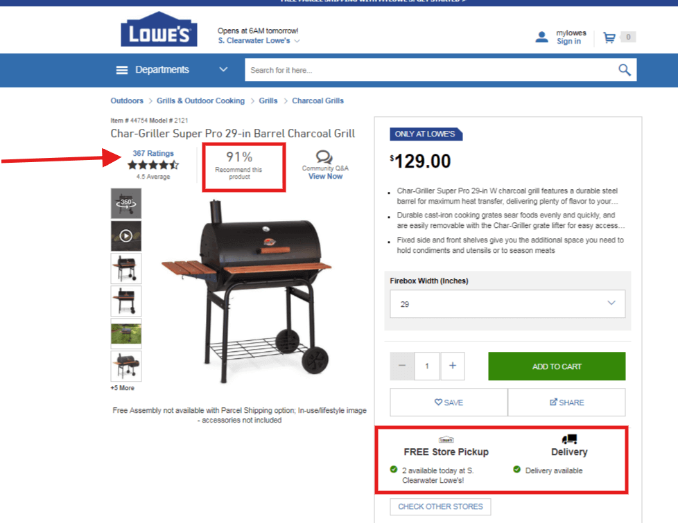 charcoal grill paid result lowes landing page