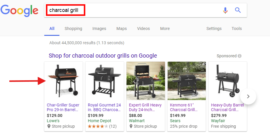 charcoal grill google search paid results