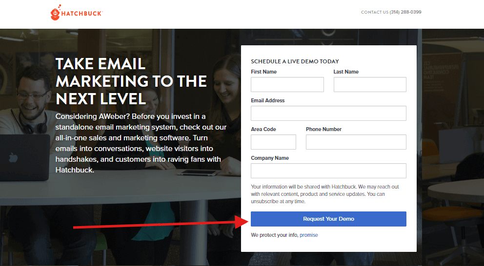 hatchbuck landing page call to action text omnidigit