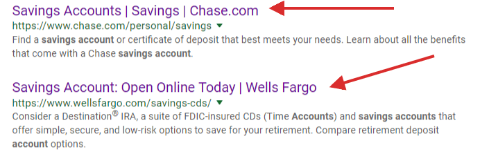 google search results for saving account