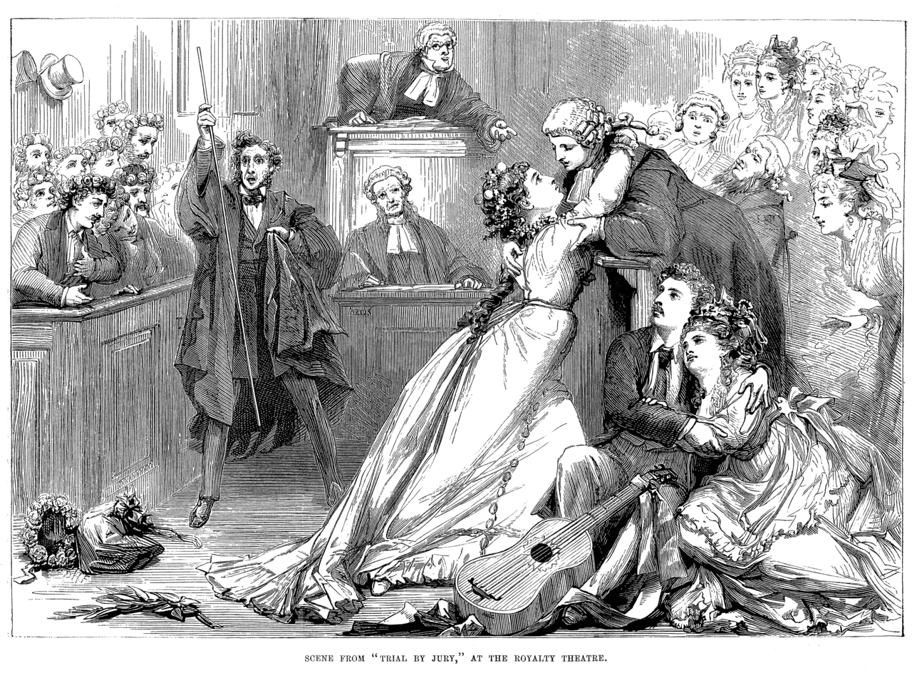 scene from Trial by Jury at the Royalty Theater