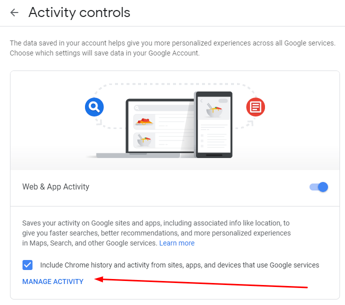my google activity controls